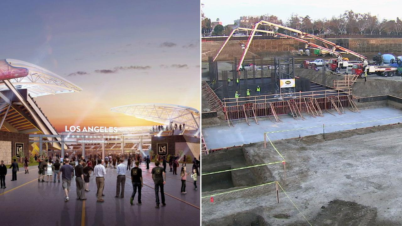 The foundation was poured for the Banc of California Stadium, which will be home to the Los Angeles Football Club.