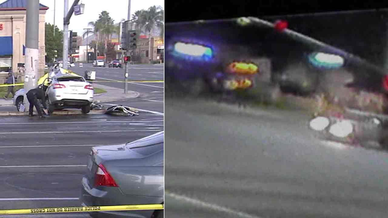 Surveillance video captures the deadly hit-and-run crash that killed a 19-year-old woman in Riverside on Friday, Dec. 9, 2016.
