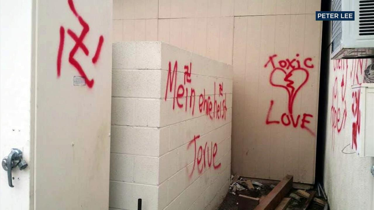 Authorities said the True Light Christian Church in Buena Park was vandalized with swastikas on Saturday, Dec. 10, 2016.