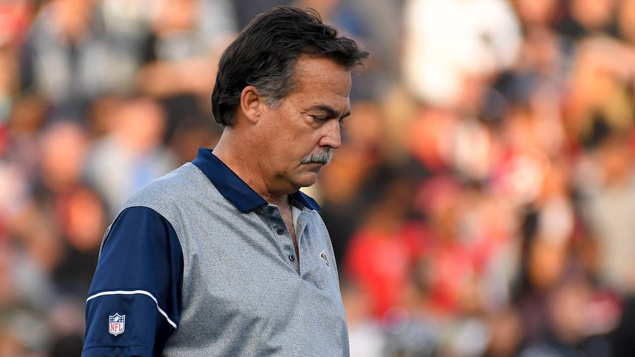 Los Angeles Rams head coach Jeff Fisher watches during the second half of an NFL football game against the Atlanta Falcons Sunday, Dec. 11, 2016, in Los Angeles.