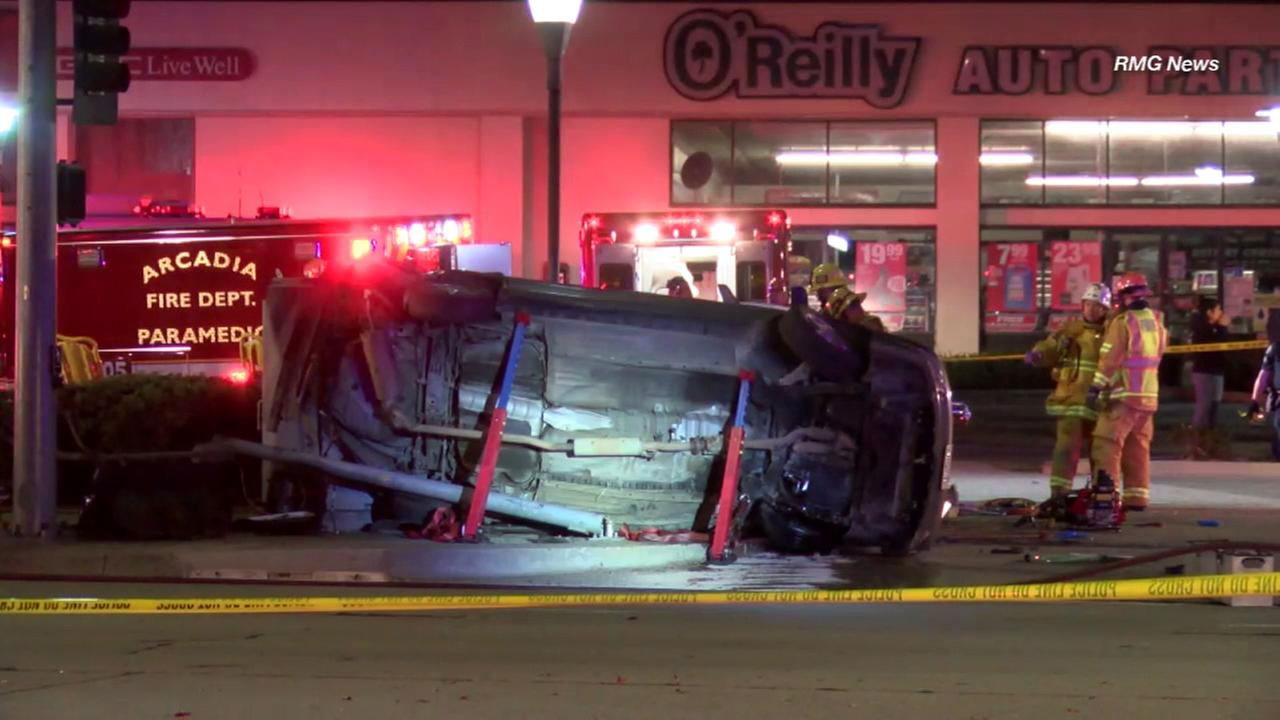 Firefighters responded after a car overturned in a fatal crash in Arcadia on Tuesday, Dec. 13, 2016.