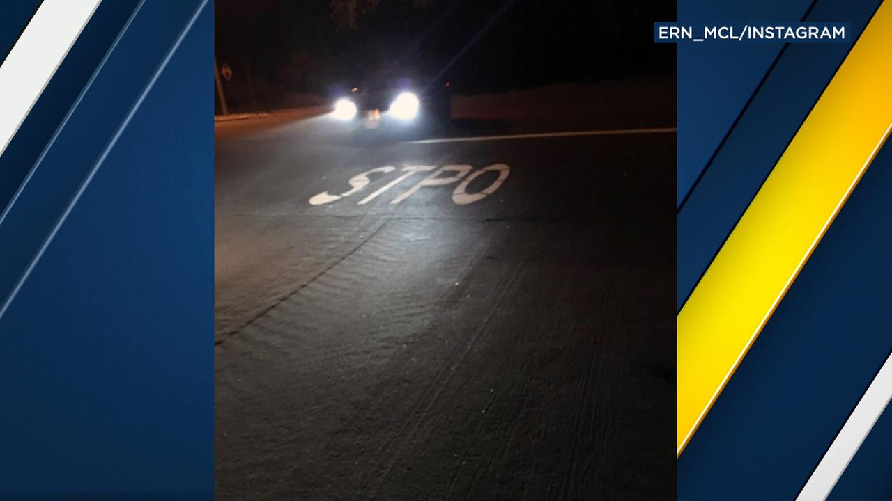Road crews made a typo when attempting to write stop for a street marking in Chino Hills.