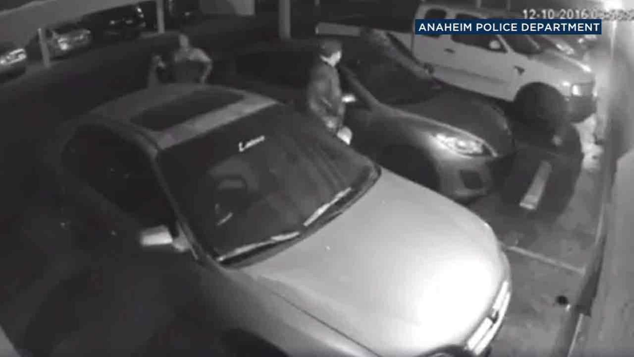 Surveillance video shows three possible witnesses to a street-racing crash that killed two people in Anaheim on Saturday, Dec. 10, 2016.