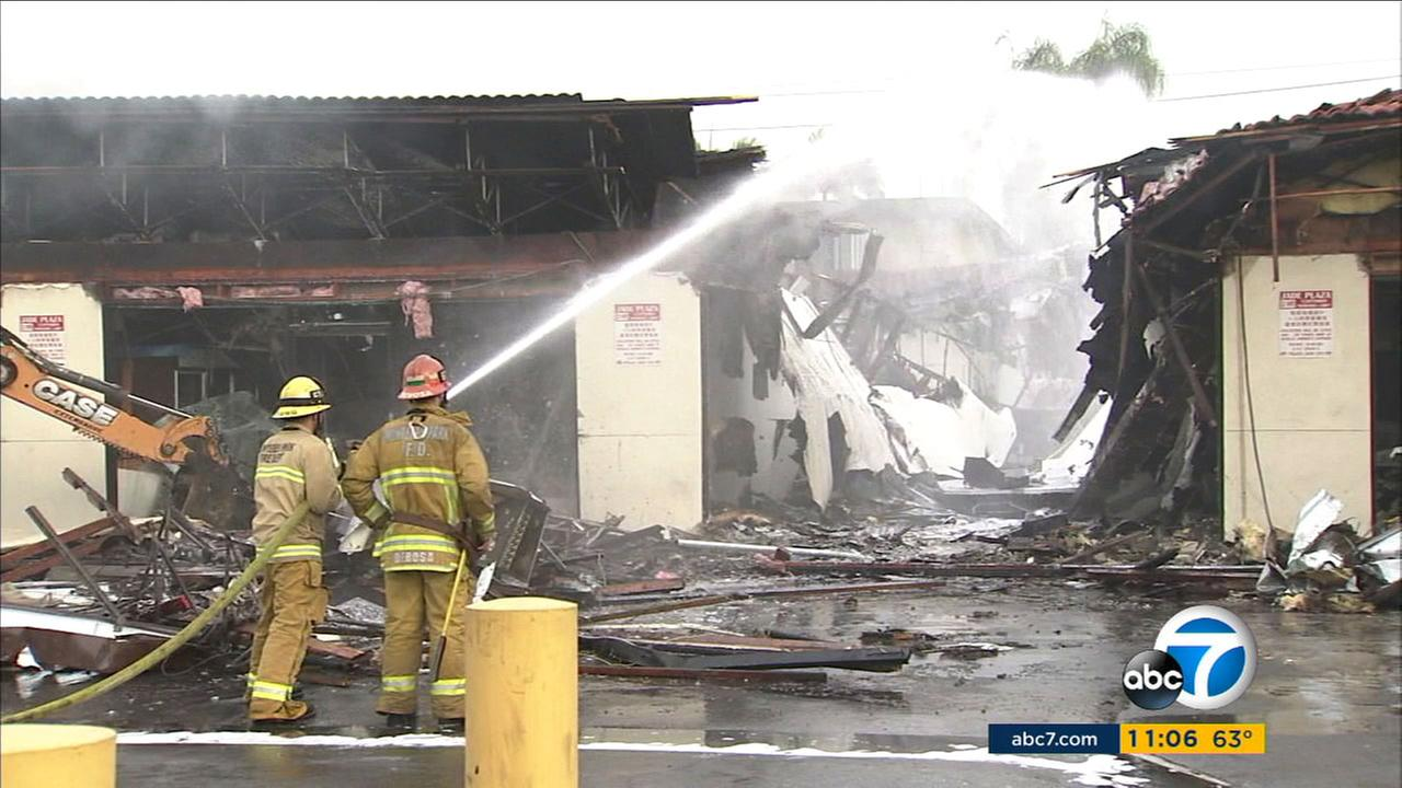 A blaze destroyed 10 businesses at a Monterey Park strip mall early Thursday, Dec. 15, 2016.