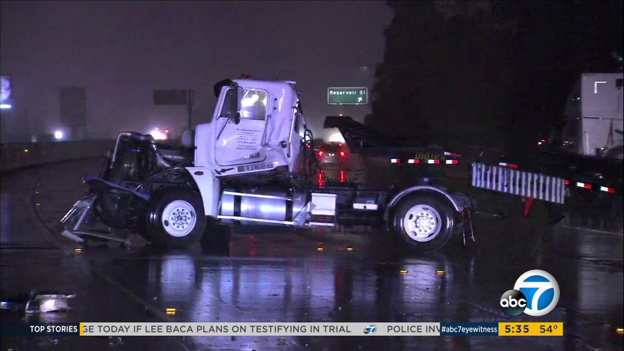 A big rig jack-knifed on the 60 Freeway in Chino amid heavy rain on Friday, Dec. 16, 2016.