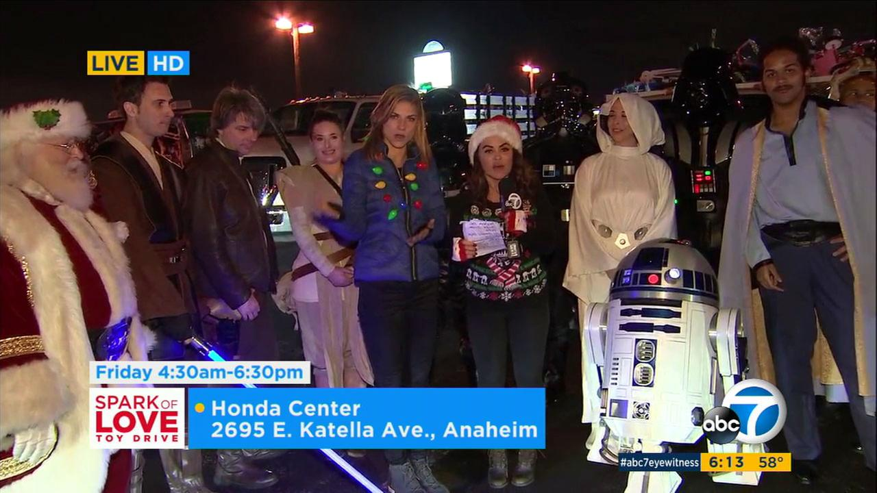 ABC7s Alysha del Valle and Bri Winkler were joined by a few familiar characters for the Spark of Love toy drive in Anaheim.