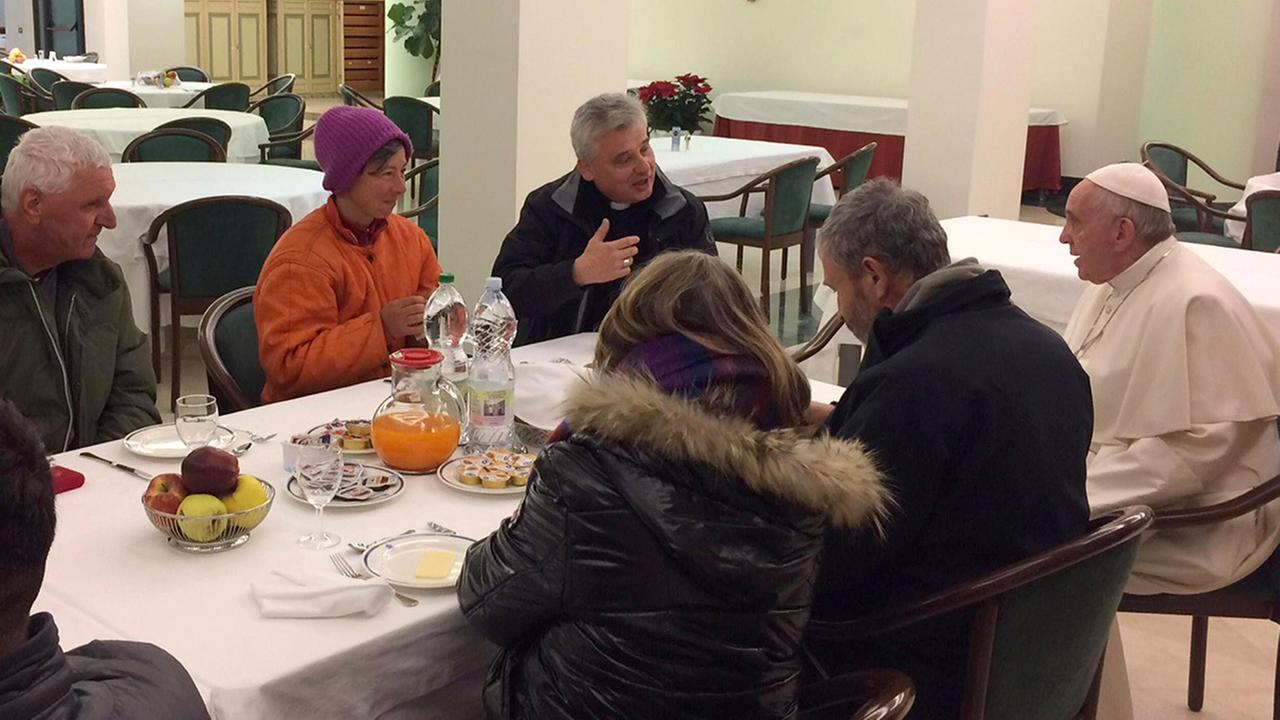 Pope Francis marked his 80th birthday by sharing a breakfast with eight homeless people before celebrating Mass with cardinals.