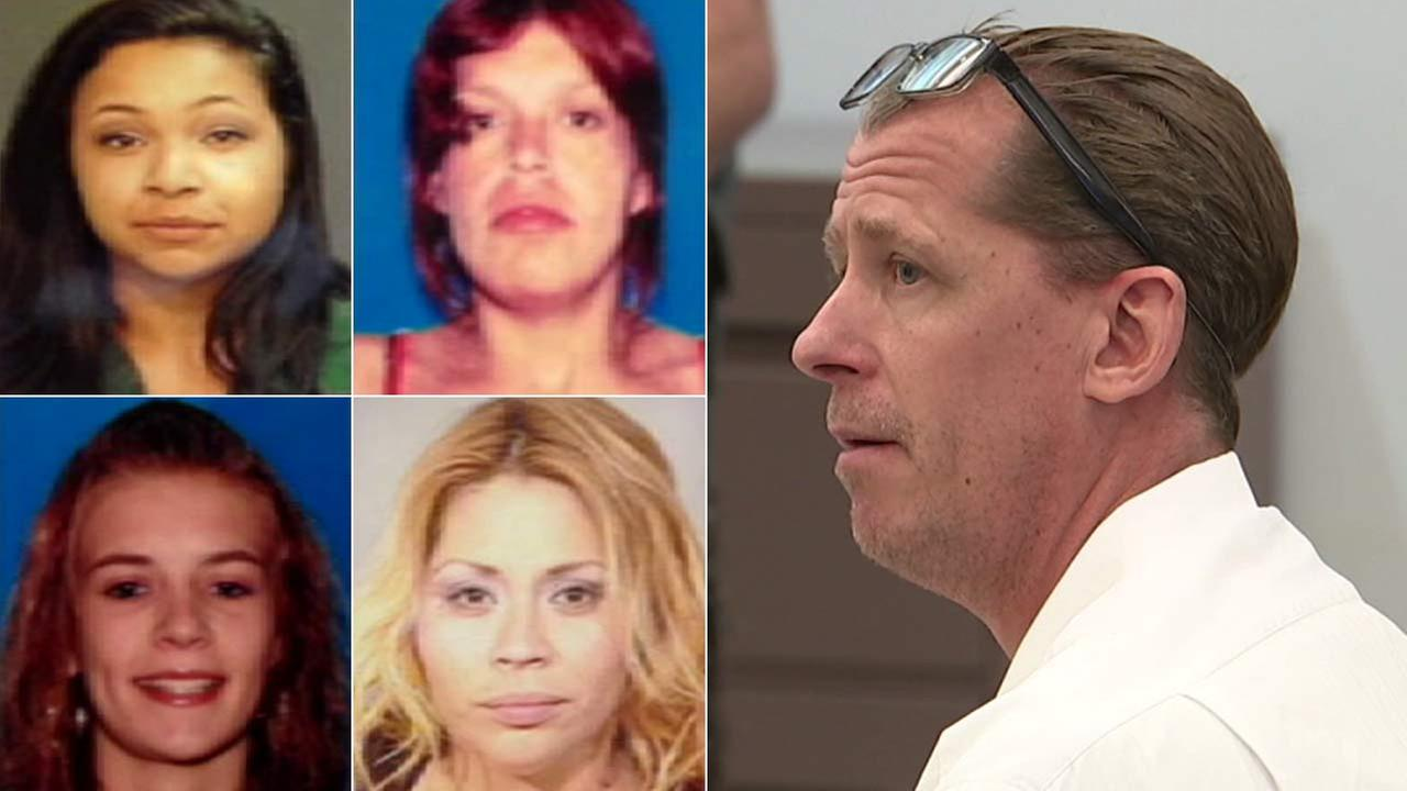 (Right) Steven Dean Gordon seen in court in an undated photo. (Left) Gordon was convicted of murdering these four women in Orange County.