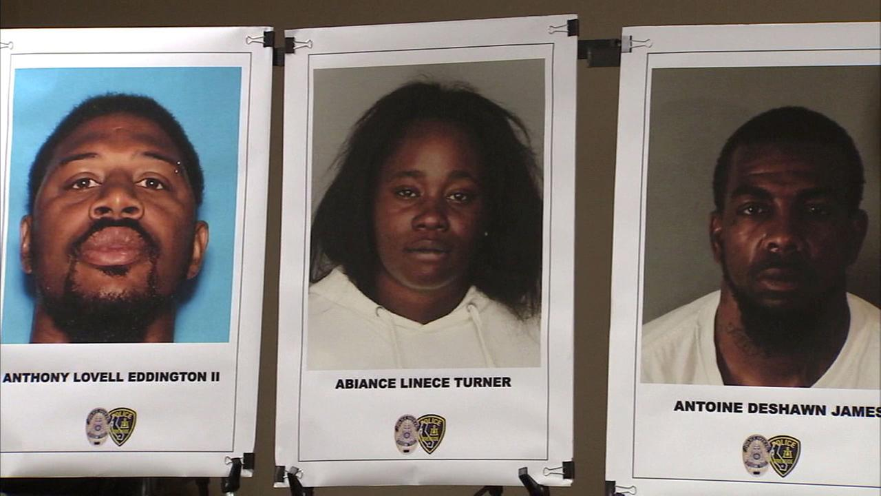 Suspects in a Riverside double homicide: Anthony Eddington, who was killed by Fresno deputies, and Abiance Turner and Antoine James, who have been arrested.
