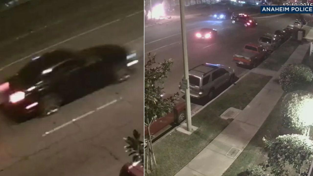 Newly released surveillance video captured a Ford Mustang that fled a fatal street racing crash in Anaheim on Saturday, Dec. 10, 2016.