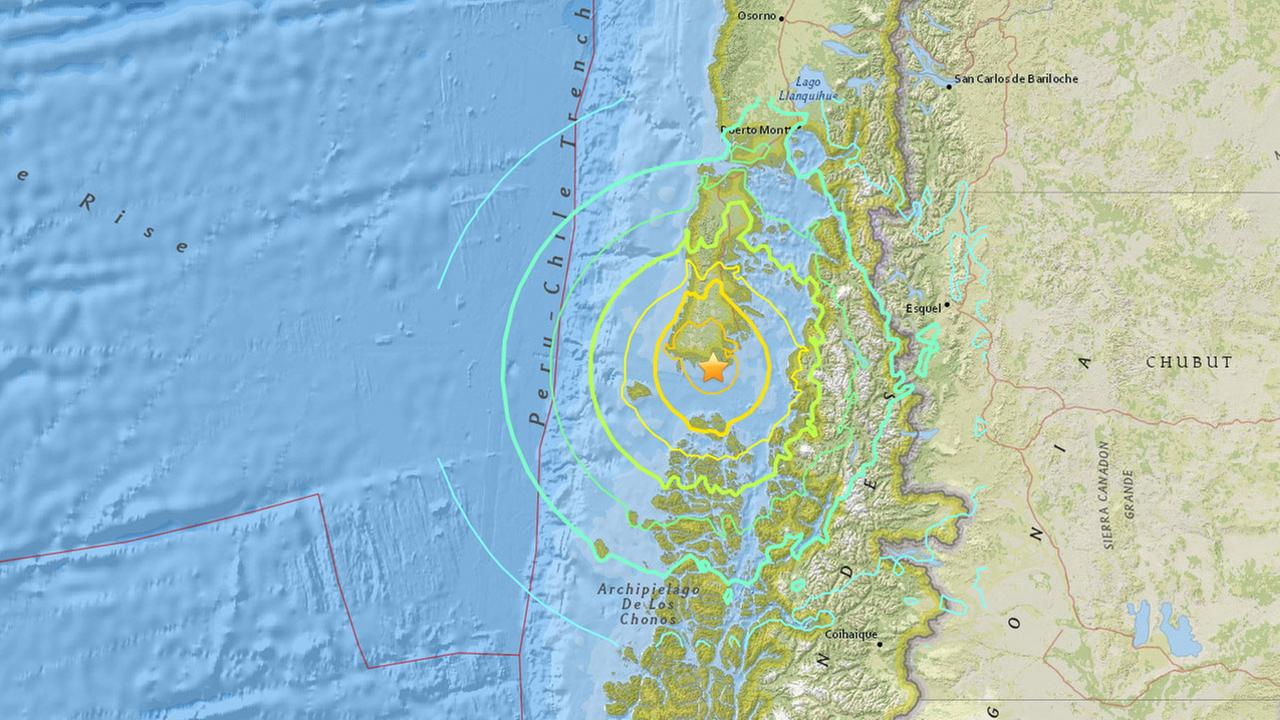 A U.S. Geological Survey map shows a 7.7-magnitude earthquake that struck Chile Christmas Day, Dec. 25, 2016.