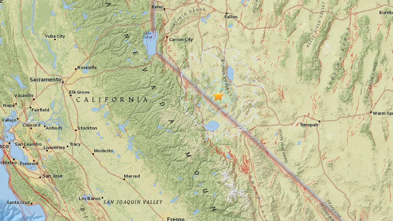 A map shows the epicenter of one of several earthquakes that struck near Lake Tahoe on Wednesday, Dec. 28, 2016.