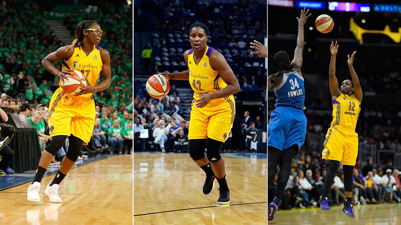 Los Angeles Sparks players Essence Carson (left) Jantel Lavender (center) and Chelsea Gray (right).