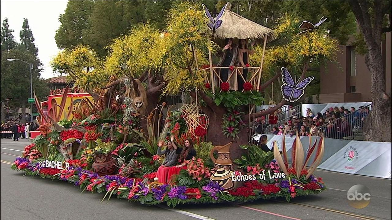 The Bachelor float, with the theme Echoes of Love, won the Presidents Award for most effective use and presentation of flowers in the 2017 Rose Parade on Monday, Jan. 2, 2017.