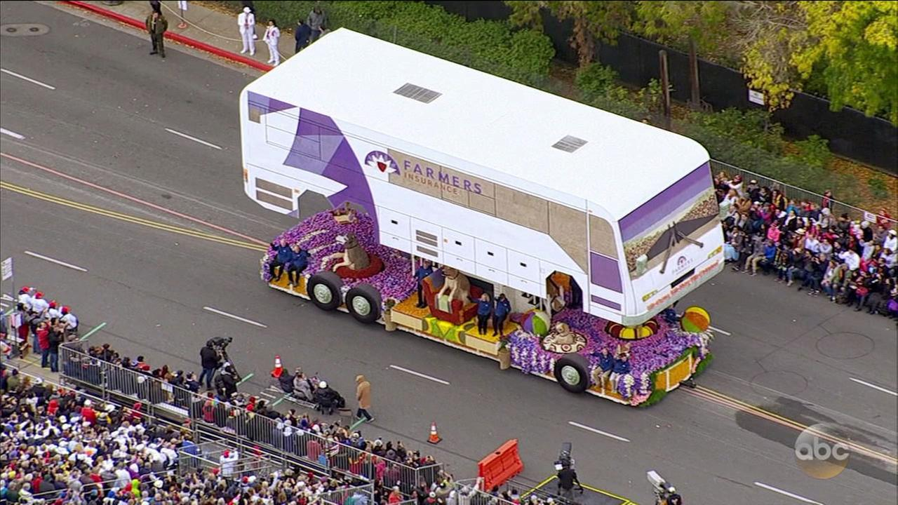Farmers Insurances We Came, We Saw, We Covered float, which won the Grand Marshal Award for most creative concept and design in the 2017 Rose Parade on Monday, Jan. 2, 2017.