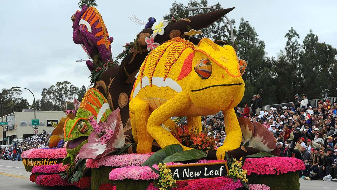 The Cal Poly Universities float, winner of the Founders Trophy for most beautiful float built and decorated by volunteers from a community or organization.AP Photo/Michael Owen Baker