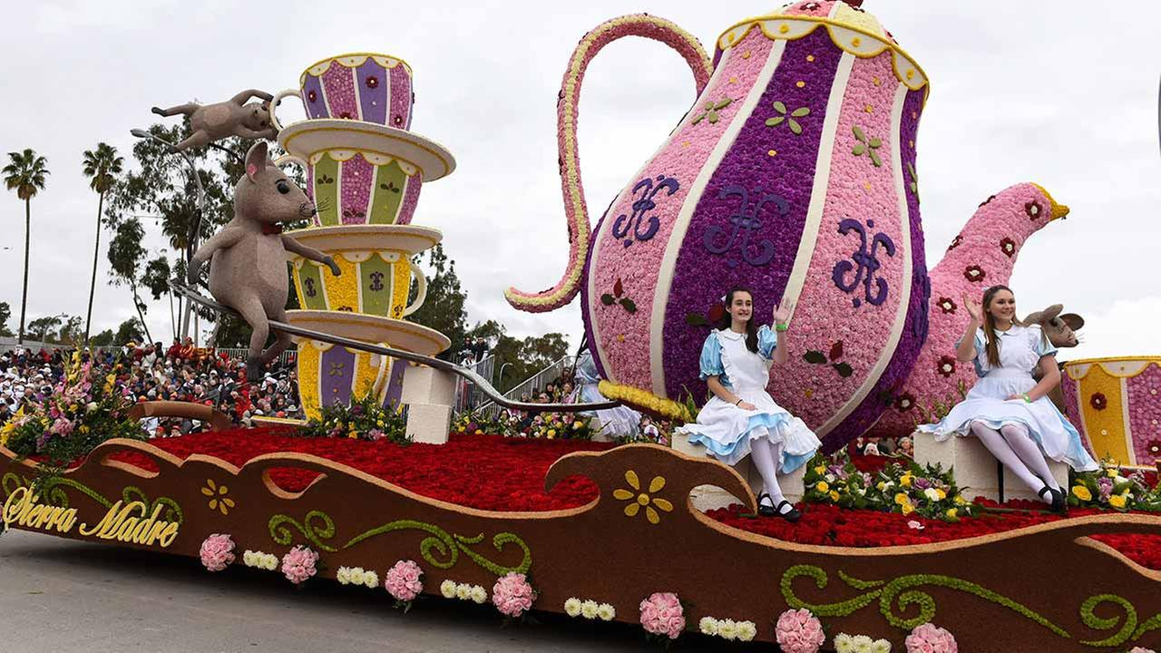 The Sierra Madre Rose Float Association float The Cats Away, winner of the Mayors Trophy for most outstanding city entry - national or international rolls along the Rose Parade.AP Photo/Michael Owen Baker