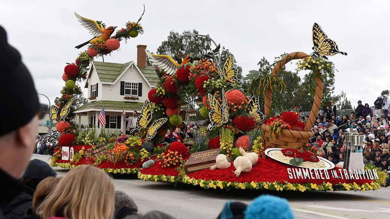 The RAGU Pasta Sauce Simmered in Tradition float winner the National Trophy, for Best depiction of life in the U.S.A., past, present or future rolls along the 128th Rose Parade.AP Photo/Michael Owen Baker