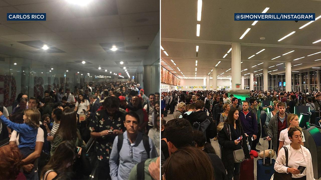 A U.S. Customs and Border Protection outage caused headaches for travelers around the country on Monday, Jan. 2, 2017.