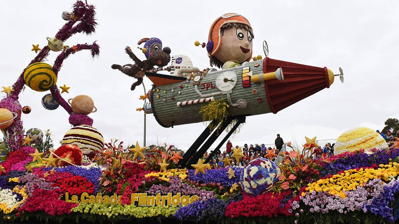 The La Canada Flintridge Tournament of Roses Association float winning entry, the Bob Hope Humor Trophy for most comical and amusing entry, rolls along the Rose Parade. AP Photo/Michael Owen Baker