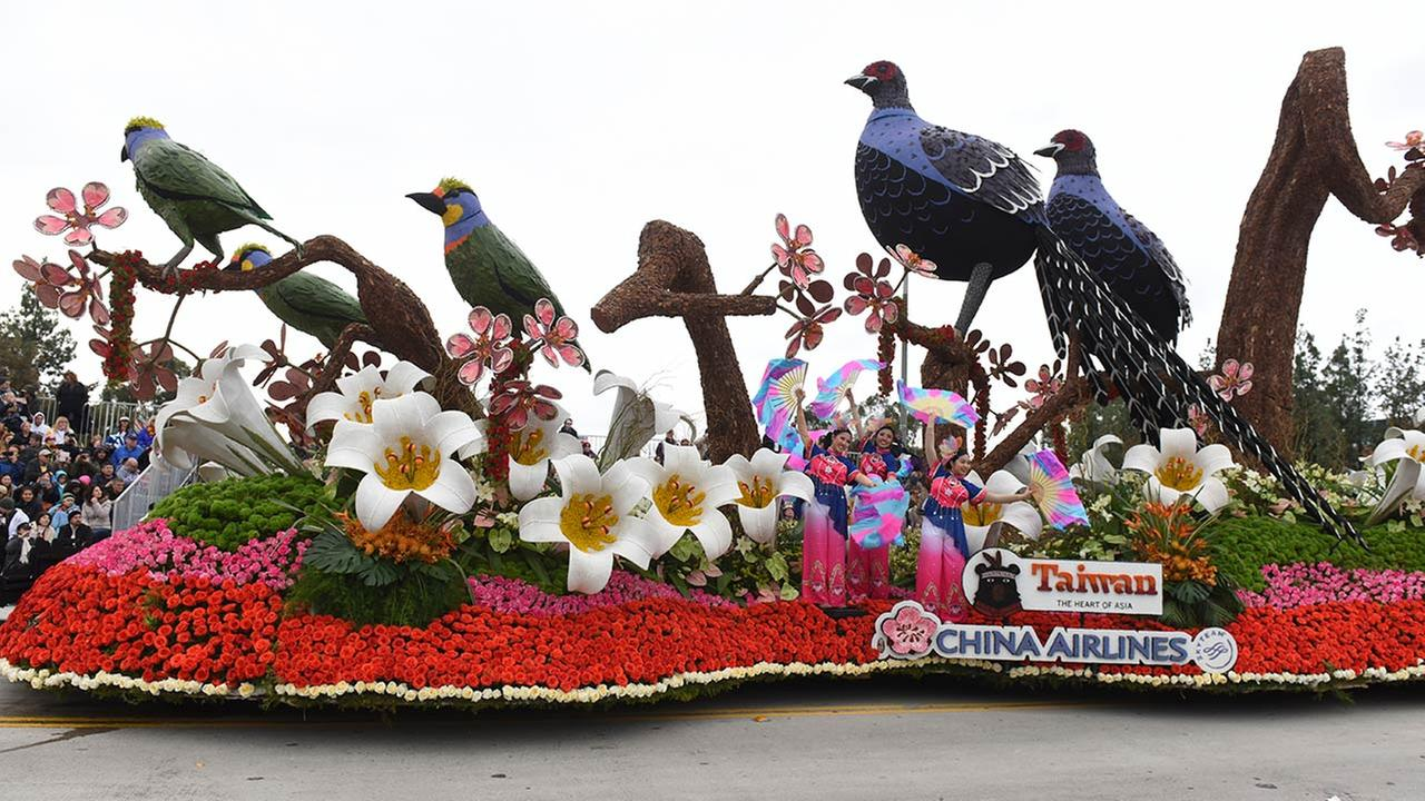The China Airlines float Return to the Beauty of Taiwan winning entry, the International Trophy for most beautiful entry from outside the U.S., rolls along the Rose Parade.AP Photo/Michael Owen Baker