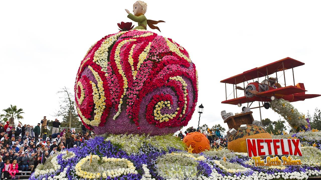 The Netflix float Soar Beyond Imagination winning entry, the Craftsman Trophy for exceptional achievement in showmanship for floats 55 feet and over, rolls along the Rose Parade. AP Photo/Michael Owen Baker