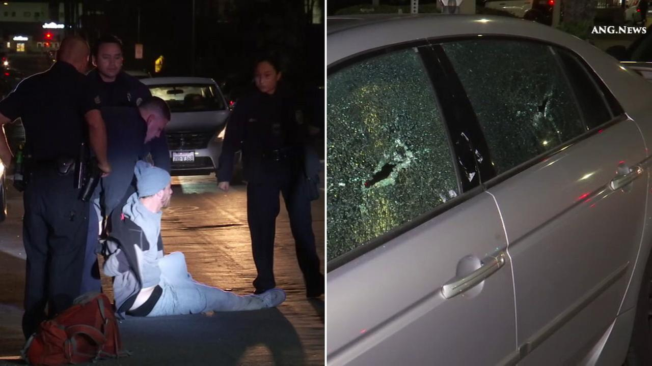 Authorities said a man smashed more than 30 car windows in Koreatown on Monday, Jan. 2, 2017.