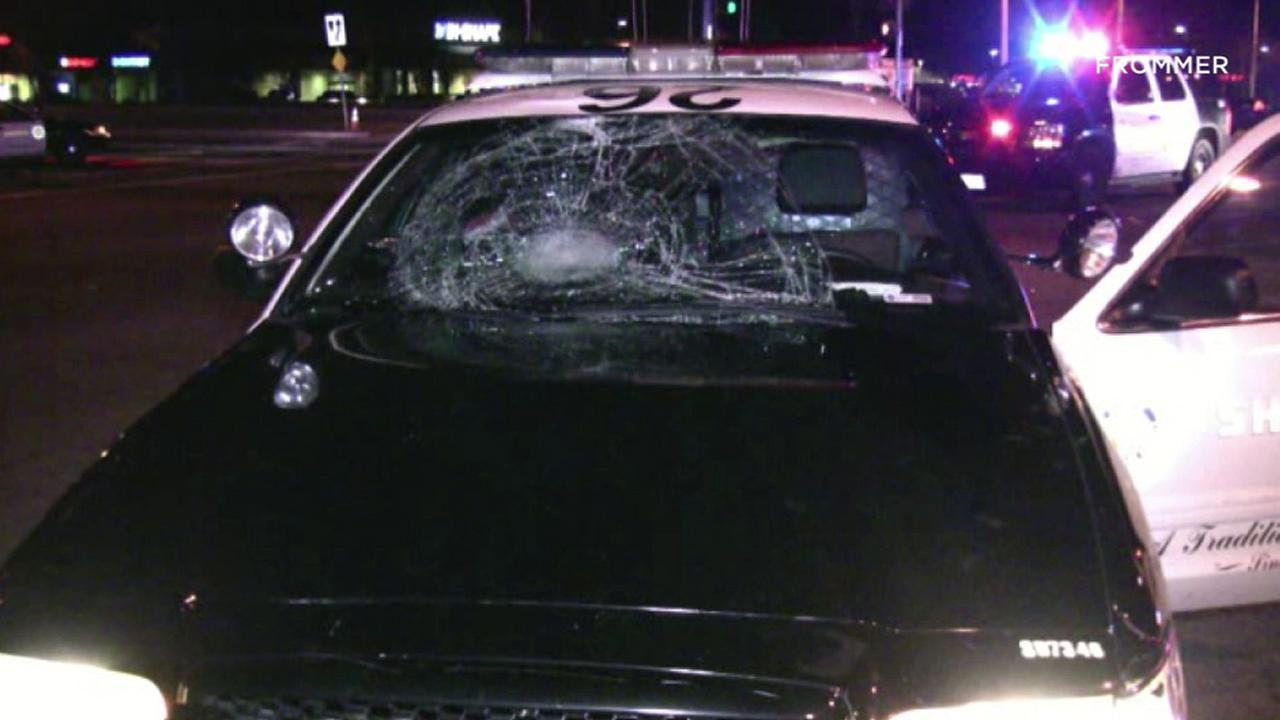 The windshield of a Los Angeles County Sheriffs Department patrol vehicle was shattered in a collision involving a bicyclist Wednesday, Jan. 4, 2017.