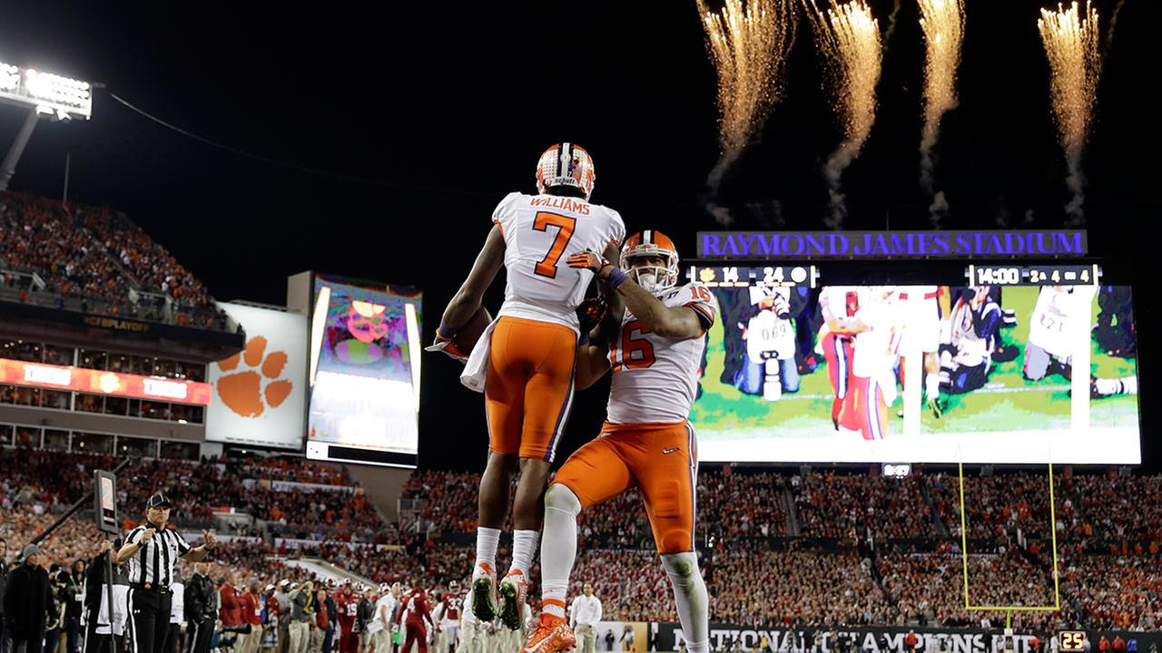 Clemsons Mike Williams (7) celebrates his touchdown catch with teammate Jordan Leggett at the NCAA college football playoff championship game against Alabama Monday, Jan. 9, 2017.