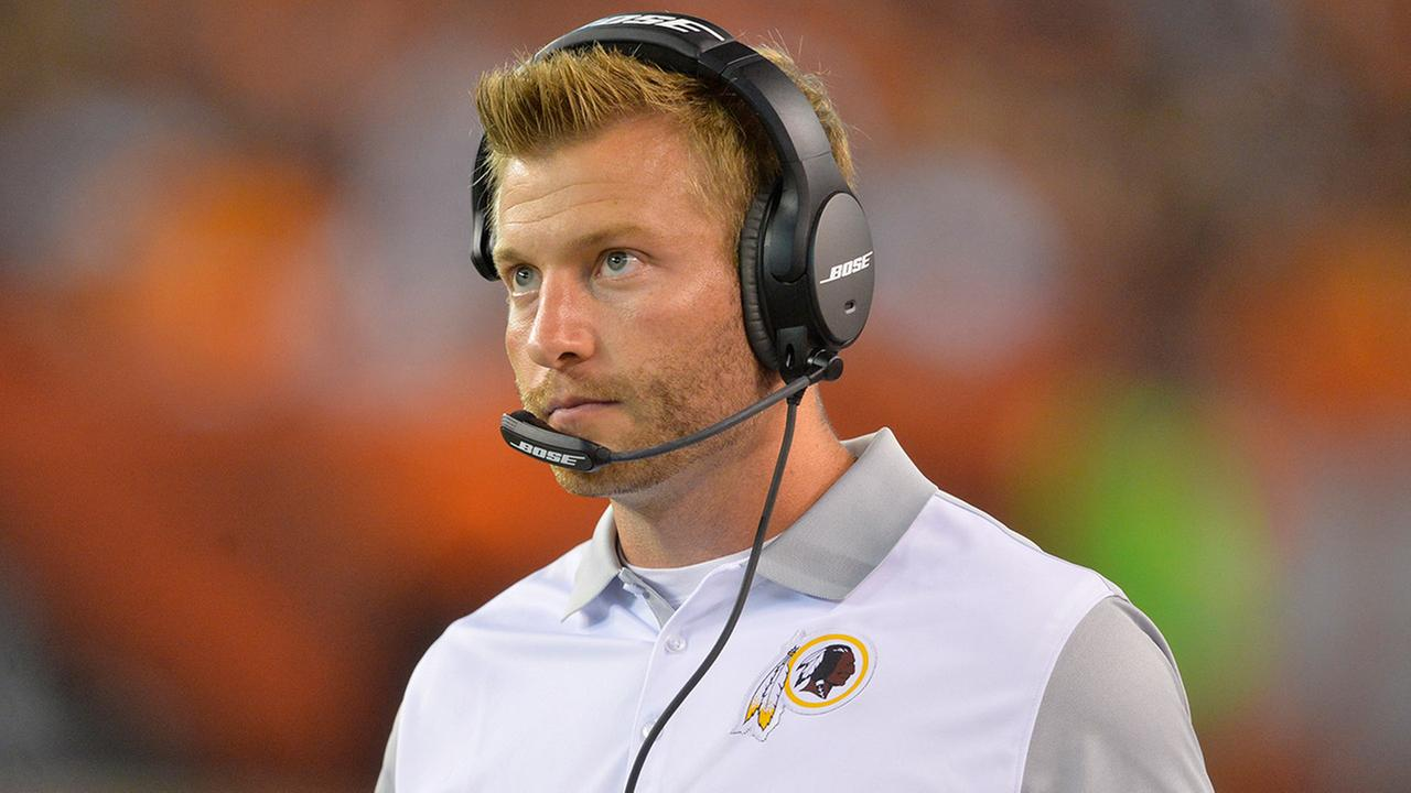 Washington Redskins offensive coordinator Sean McVay stands on the sideline during an NFL preseason football game against the Cleveland Browns, Thursday, Aug. 13, 2015.