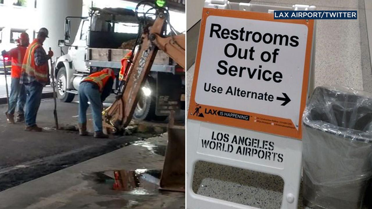 A water main break disrupted travelers using Terminal 5 at the Los Angeles International Airport on Friday, Jan. 13, 2017.