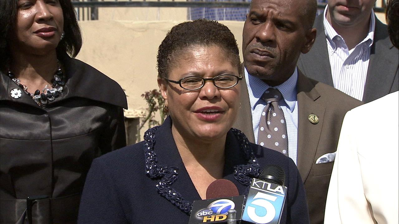 An undated photo of California Congresswoman Karen Bass at a press conference.
