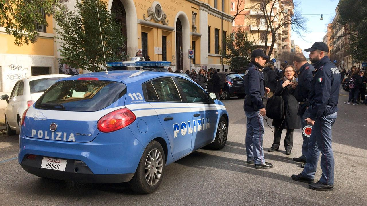 Italian police stand by an evacuated school after three earthquakes hit central Italy in the space of an hour, shaking the same region that suffered a series of deadly quakes.