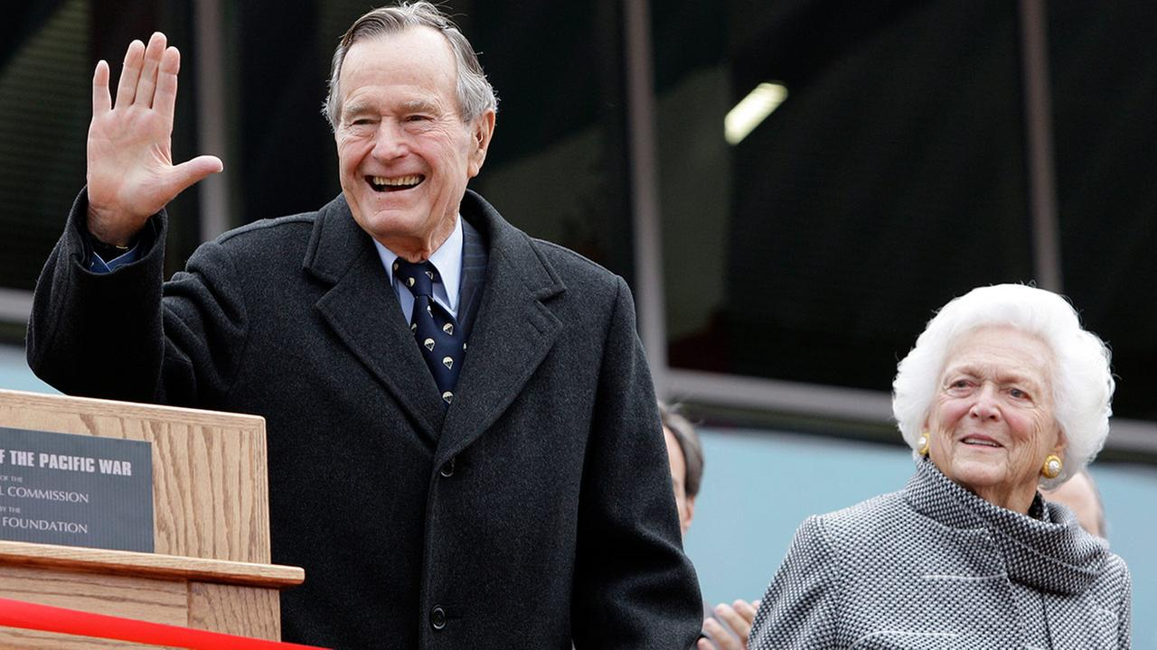 Former President George H.W. Bush and former first lady Barbara Bush in a file photo taken in Fredericksburg, Texas, on In this Dec. 7, 2009.