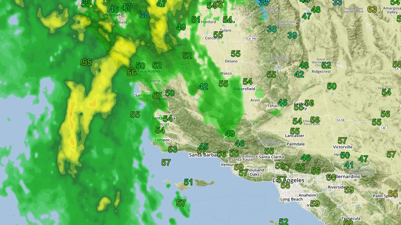 Weather radar shows a storm moving in to Southern California from the north in the afternoon of Wednesday, Jan. 18, 2017.