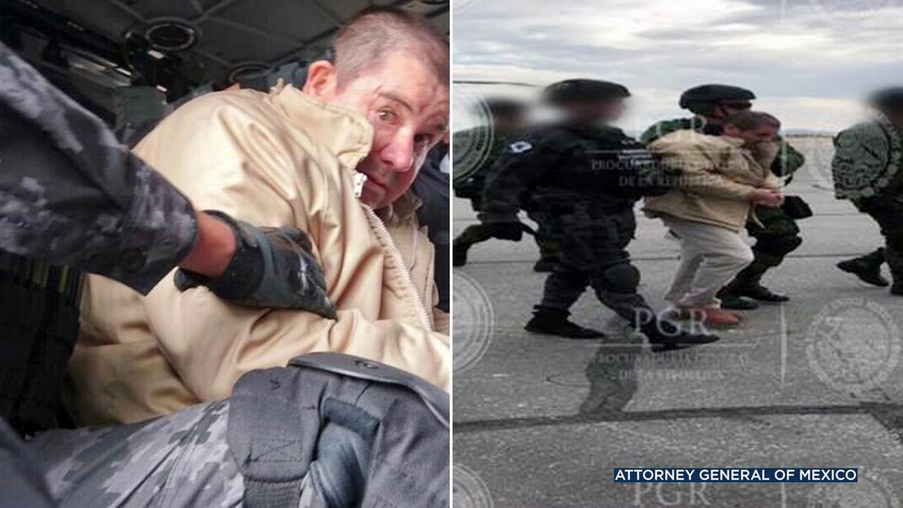 Photos show drug lord Joaquin El Chapo Guzman been extradited to the United States.