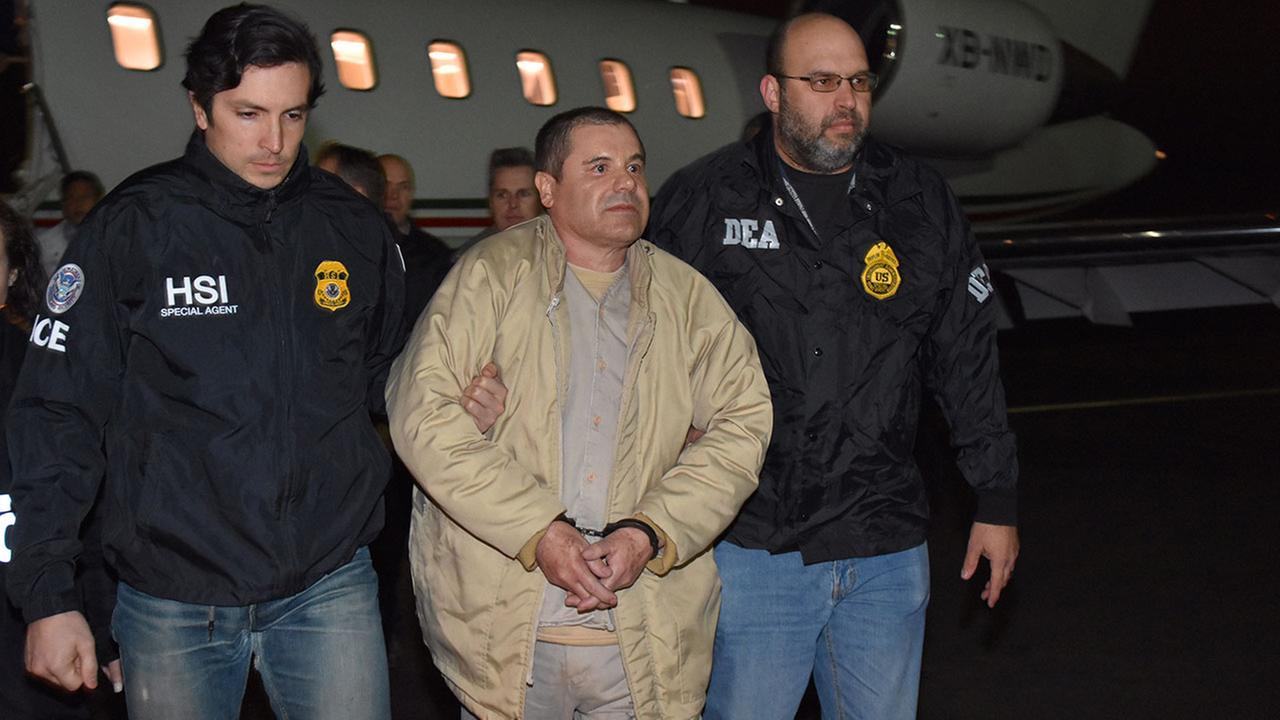 Drug lord Joaquin El Chapo Guzman arrives at MacArthur Airport in Islip, NY after extradition from Mexico on Thursday, Jan. 19, 2017.