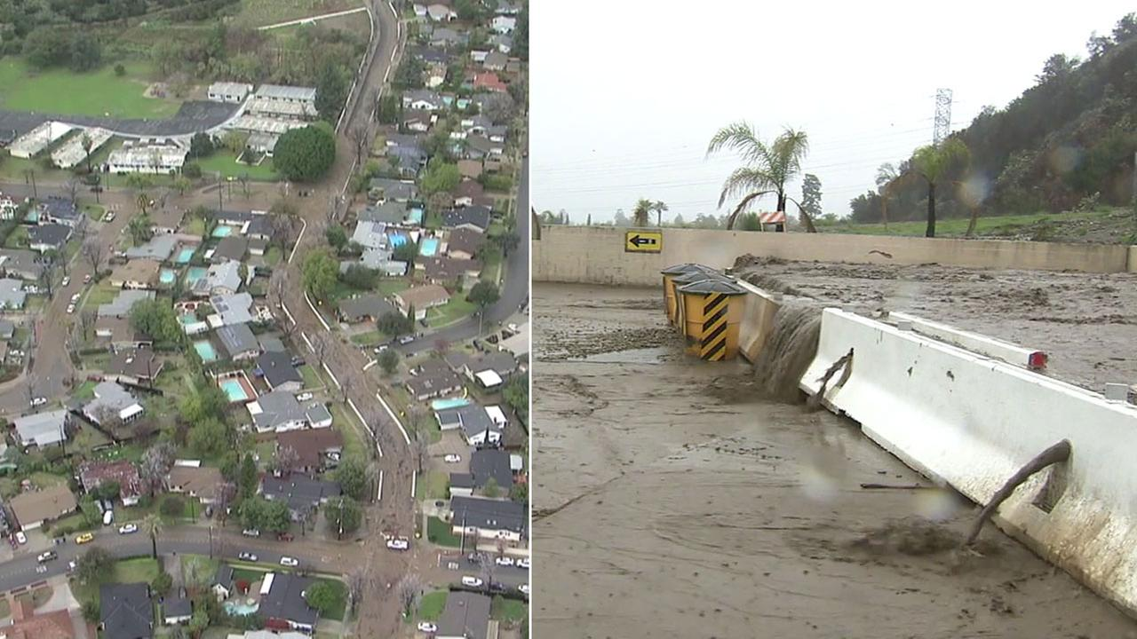 Two images show the mud and debris flow damage after heavy rains saturated the hillsides that were recently burned in Duarte.