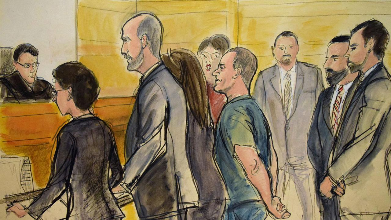 In this courtroom drawing, Joaquin El Chapo Guzman, center, appears in a New York courtroom on Friday, Jan. 20, 2017, after being extradited by Mexico to face charges.