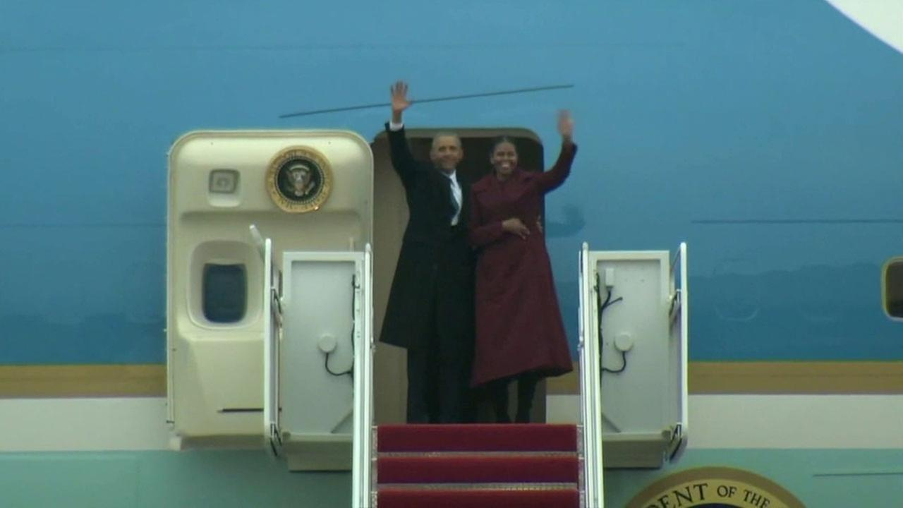 The Obamas stopped at Andrews Air Force Base before heading on vacation to Palm Springs.