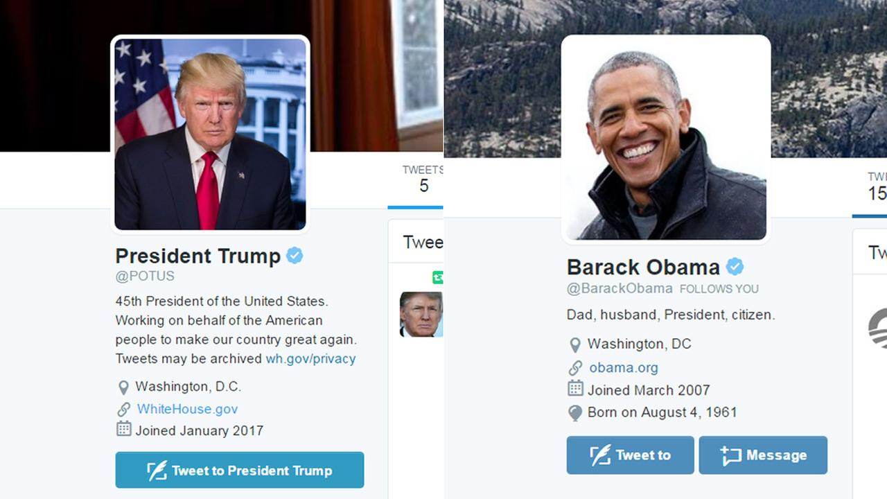 The Twitter accounts of President Donald Trump and former President Barack Obama are seen on Inauguration Day, Jan. 20, 2017.