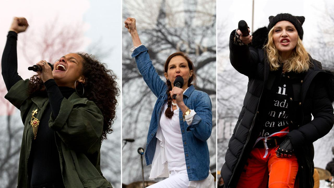 Alicia Keys, Ashley Judd and Madonna are shown at the Womens March on Washington on Saturday, Jan. 21, 2017.