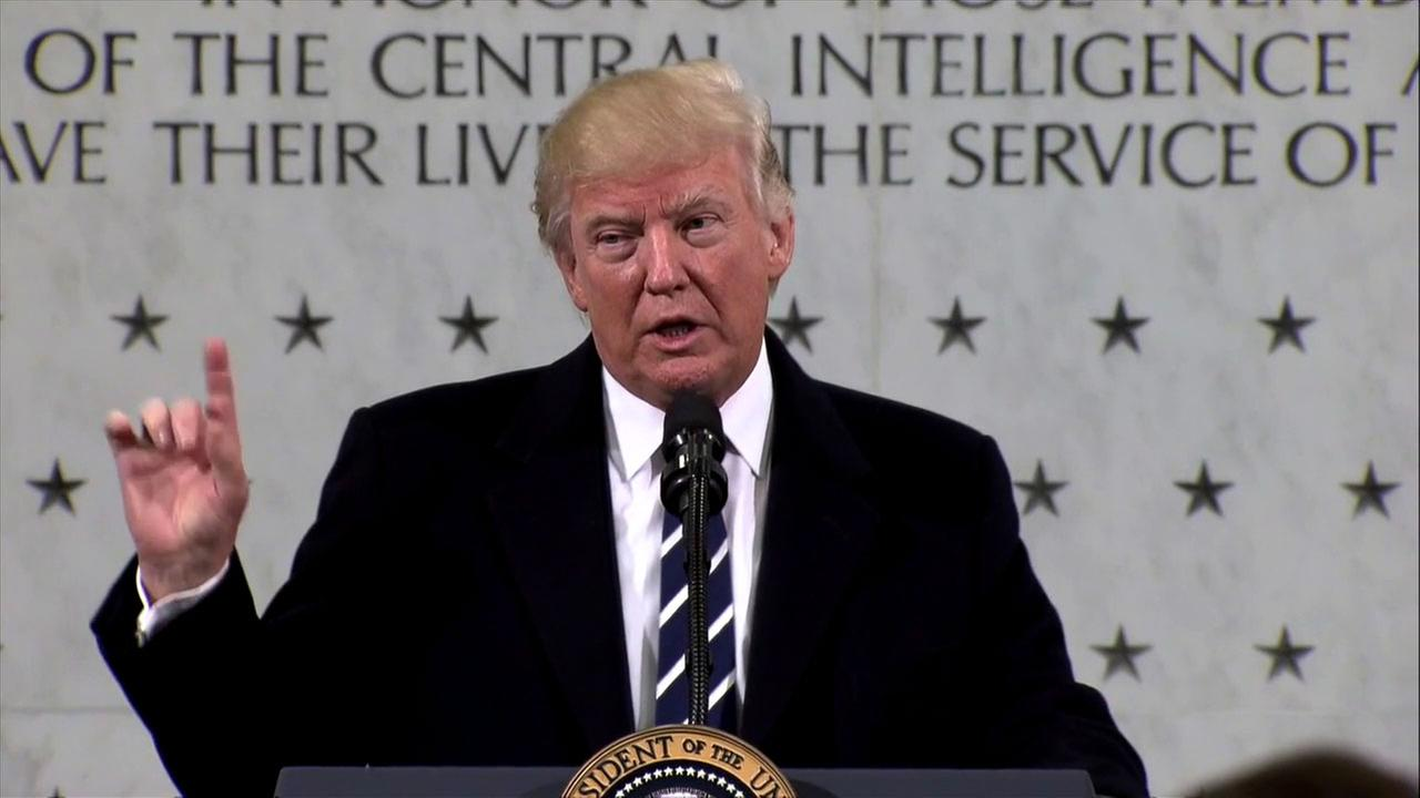 On his first full day in office, President Donald Trump spoke at CIA headquarters in Virginia.