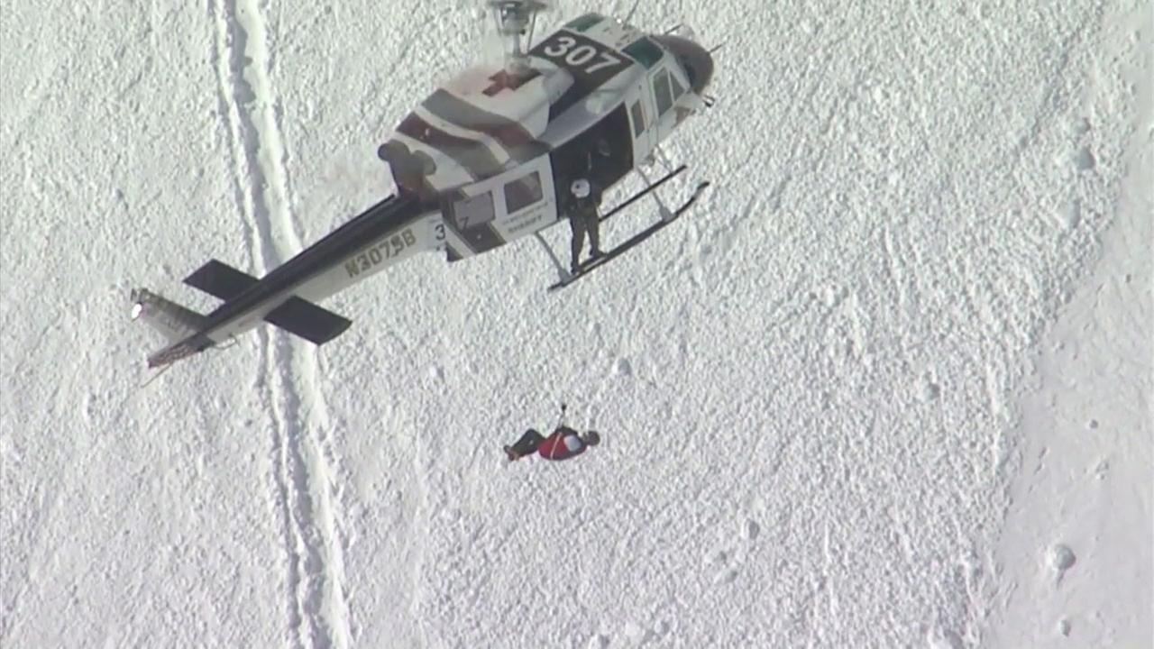 Rescue crews hoisted an injured hiker into a helicopter after an avalanche on Mount Baldy.