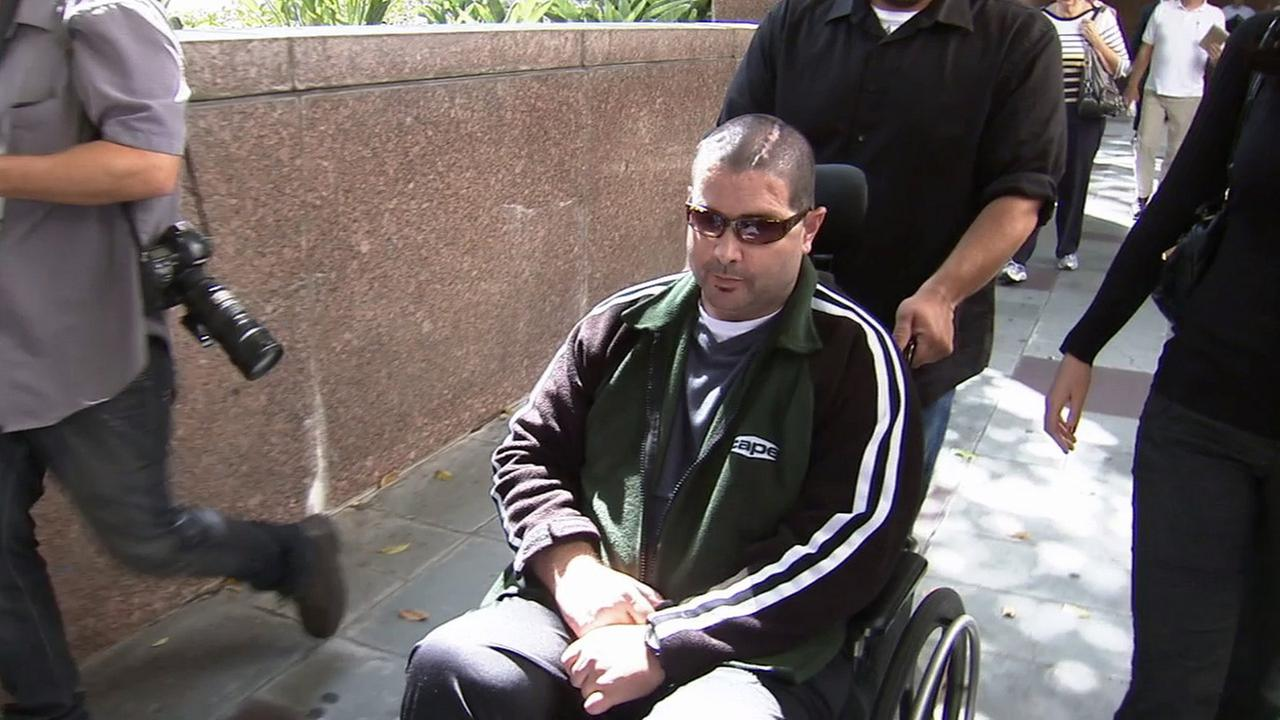 Bryan Stow is seen outside a Los Angeles courthouse on Wednesday, June 25, 2014.