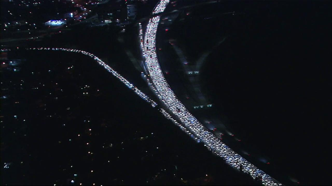 The 134 Freeway was jammed after a police chase ended in a crash near Eagle Rock.