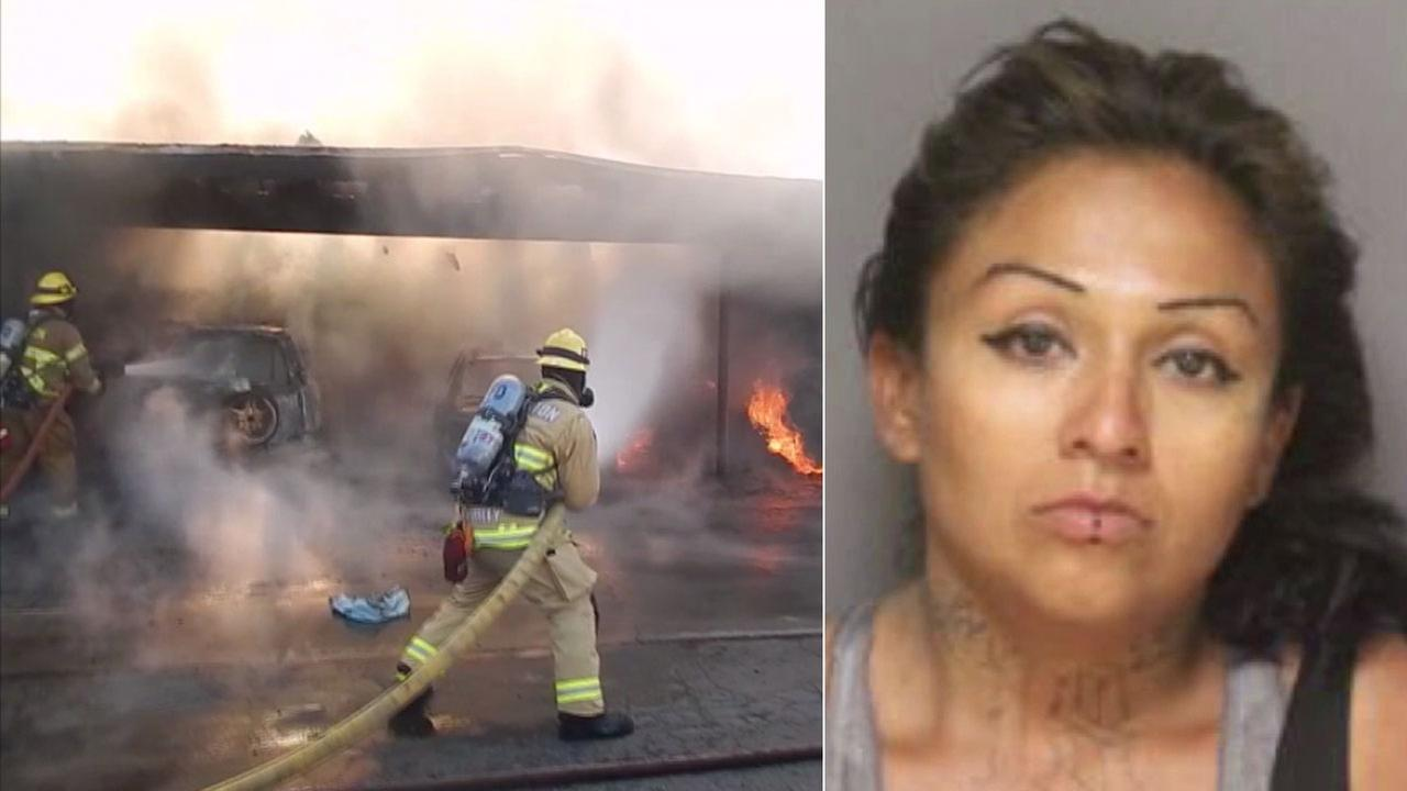 Suspect Maria Angel Dejesus Rios, 33, was arrested in connection with a fire that destroyed five cars at a Fullerton apartment complex.
