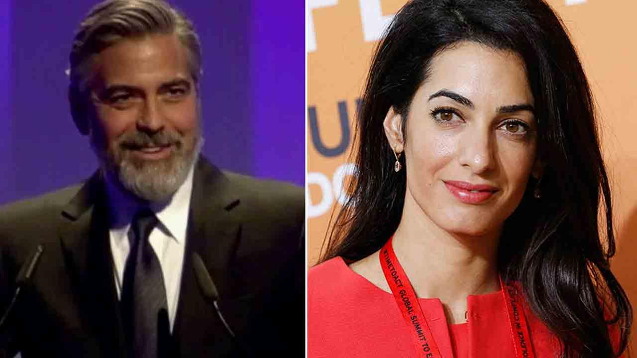 George Clooney is seen in this undated file photo (left). Amal Alamuddin attends the End Sexual Violence in Conflict summit in London, Thursday June 12, 2014 (right).