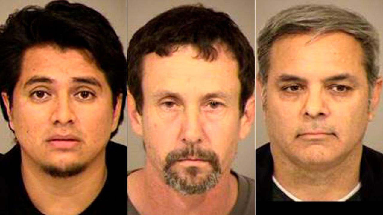 From left: Jose Juan Ramualdo-Posadas, Christopher Allen Bouchard and Reynal Reginio Guillen are seen in booking photos after being arrested in a sexual predator sting operation.