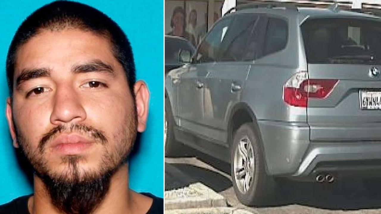Mario Jose Estrada, 23, seen in an undated photo. Alongside is a photo of a BMW SUV sheriffs officials believe he is driving.